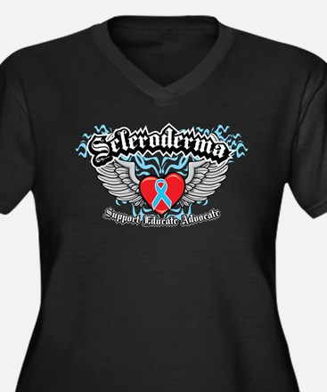 Scleroderma Wings Women's Plus Size V-Neck Dark T-
