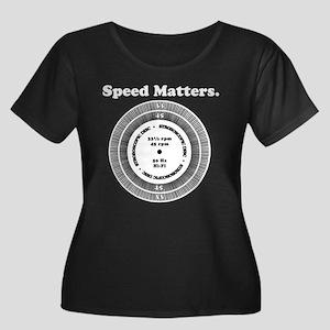 Speed Matters Women's Plus Size Scoop Neck Dark T-