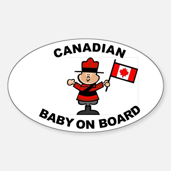 Canadian Baby on Board Oval Stickers
