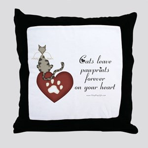 Cat Pawprints Throw Pillow