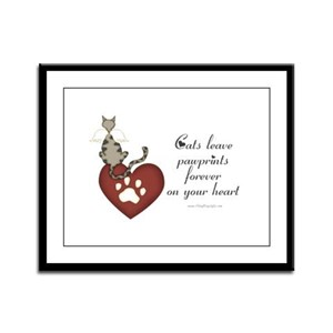 Cat Pawprints Framed Panel Print