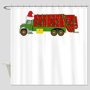 Garbage Truck Christmas Trash Truck Shower Curtain