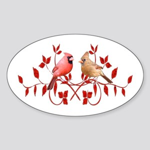 Love Birds Oval Sticker