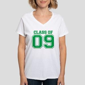 Class Of 09 (Green Varsity) Women's V-Neck T-Shirt