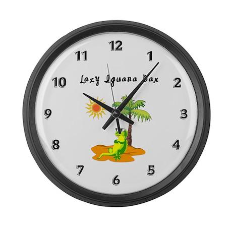 Lazy Iguana Bar Large Wall Clock