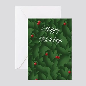 Holly Leaves Greeting Cards (Pk of 10)