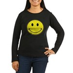 Smiley Face Women's Long Sleeve Dark T-Shirt