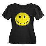 Smiley Face Women's Plus Size Scoop Neck Dark T-Sh