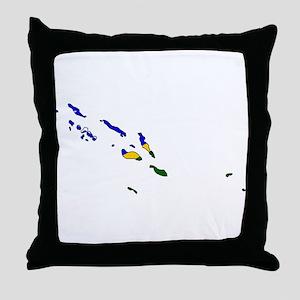 Solomon Islands Flag Map Throw Pillow