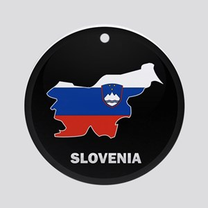 Flag Map of Slovenia Ornament (Round)