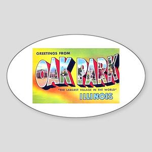 Oak Park Illinois Greetings Oval Sticker