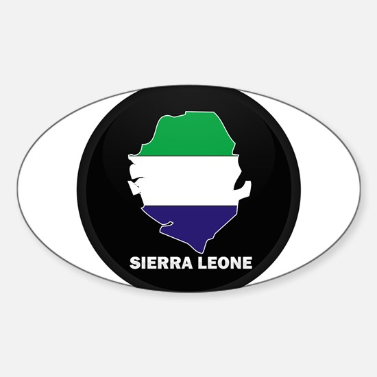 Flag Map of Sierra Leone Oval Decal