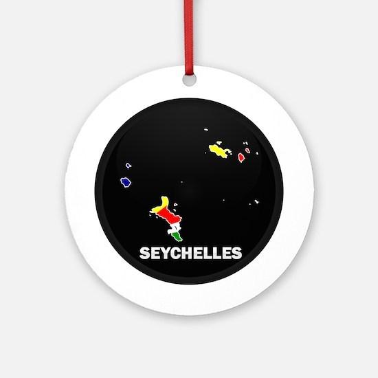Flag Map of seychelles Islan Ornament (Round)