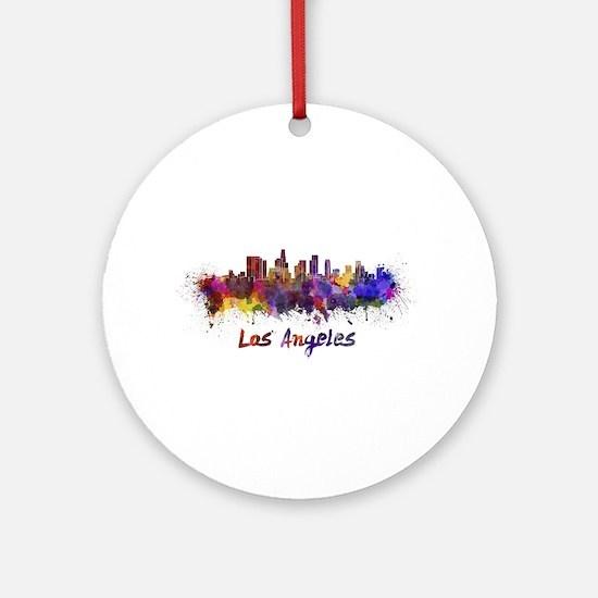 I Love LA Round Ornament