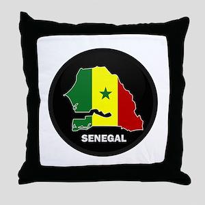 Flag Map of senegal Throw Pillow