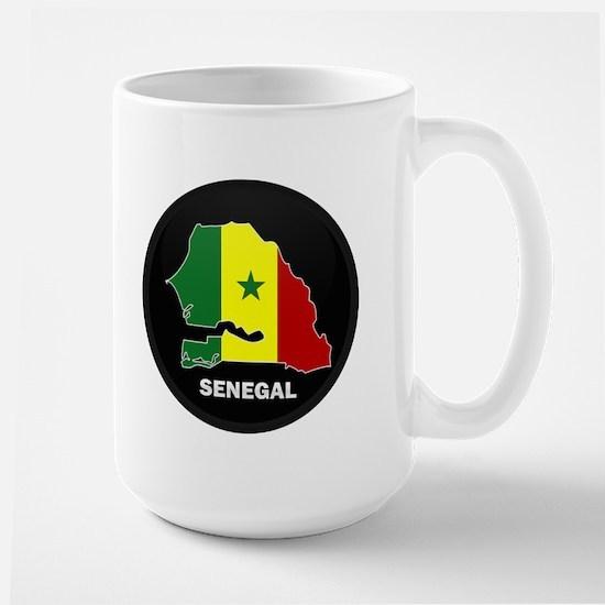 Flag Map of senegal Large Mug