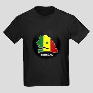 Flag Map of senegal Kids Dark T-Shirt
