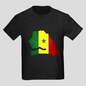 senegal Flag Map Kids Dark T-Shirt