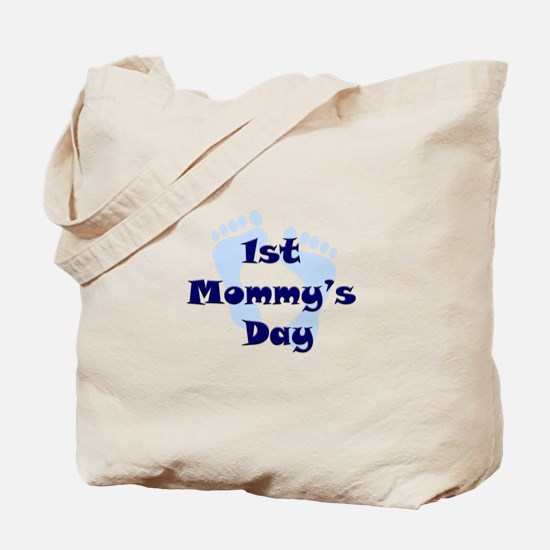 1st Mommy's Day - Blue Feet - Tote Bag