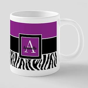 Purple Zebra Monogram Personalized 20 oz Ceramic M