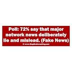 Poll: 72% say major news lies Sticker (Bumper)