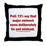 Poll: 72% say major news lies Throw Pillow