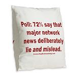 Poll: 72% say major news lies Burlap Throw Pillow