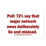 Poll: 72% say major news Postcards (Package of 8)
