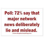 Poll: 72% say major news lies Large Poster