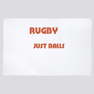 Rugby No Helmets No Pads JUST BALLS 4' x 6' Rug