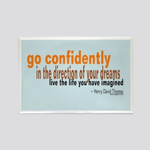 "Thoreau ""Go Confidently"" Rectangle Magnet"