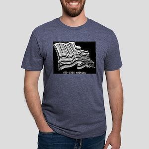 Barcode Flag - God Less Ameri Women's Dark T-Shirt
