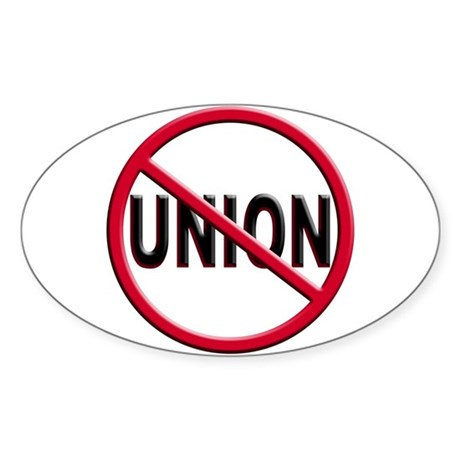 Anti-Union Oval Sticker (10 pk)