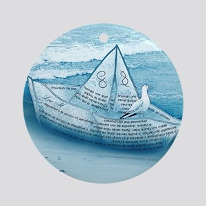 """""""Ocean and paper ship"""" Ornament (Round)"""