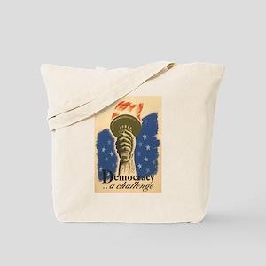 Democracy Torch Vintage Poste Tote Bag