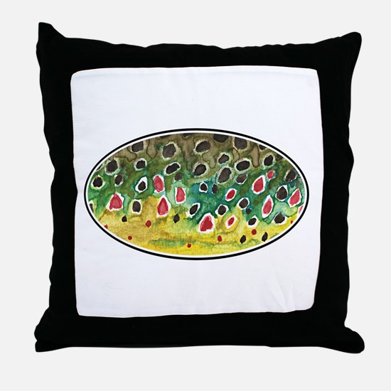 Brown Trout Fly Fishing Throw Pillow