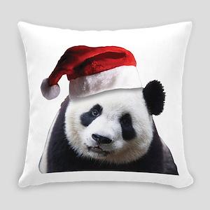 christmas panda wearing a santa cl Everyday Pillow