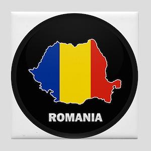 Flag Map of Romania Tile Coaster