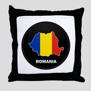 Flag Map of Romania Throw Pillow