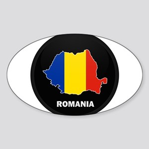 Flag Map of Romania Oval Sticker