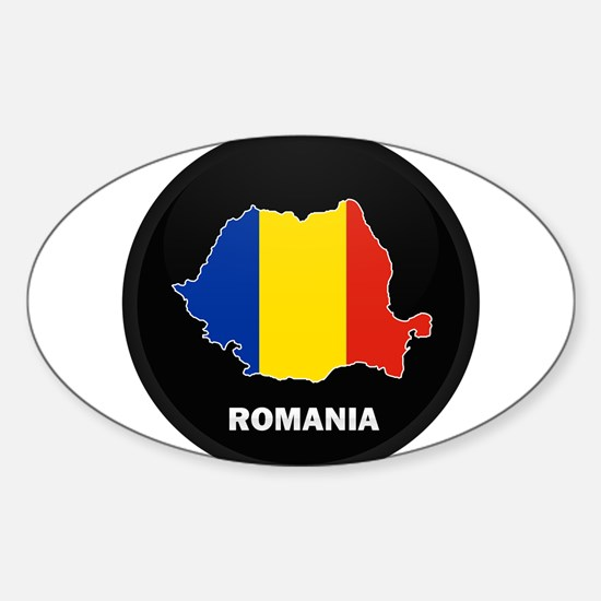 Flag Map of Romania Oval Decal
