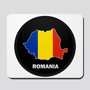 Flag Map of Romania Mousepad