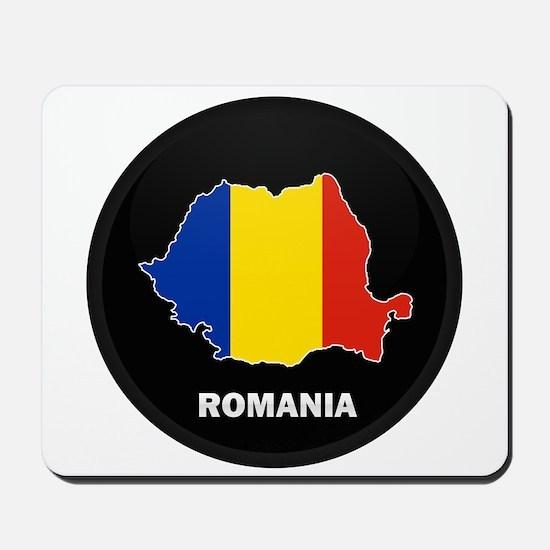 Flag Map of Romania Mousepad