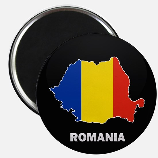 Flag Map of Romania Magnet