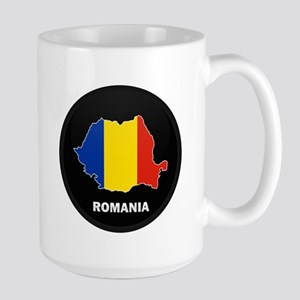 Flag Map of Romania Large Mug