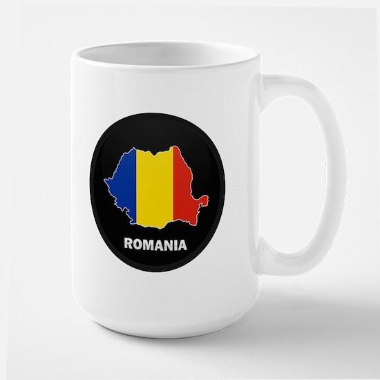 Flag Map of Romania Large Mug