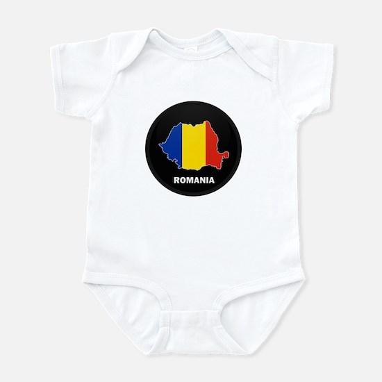 Flag Map of Romania Infant Bodysuit