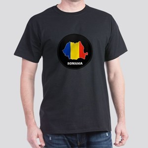 Flag Map of Romania Dark T-Shirt