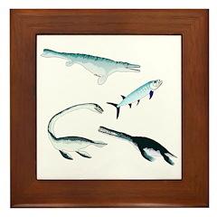Battle of the Extinct Sea Monsters Framed Tile