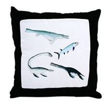 Battle of the Extinct Sea Monsters Throw Pillow